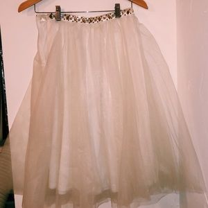 lace scallop tulle skirt